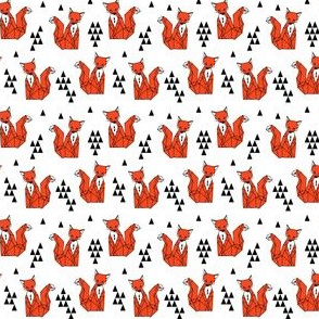 fox // red triangle kids mini small size foxes woodland geometric fox kids