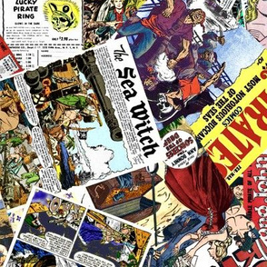 vintage comic book pirates - LARGE PRINT