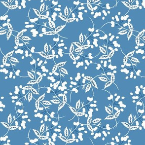 Barberries -- in white on french blue