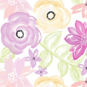 Spring Garden in Purple Gold Watercolor Floral