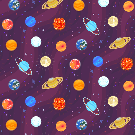 Space and planets fabric westgateillustrates spoonflower for Planet print fabric