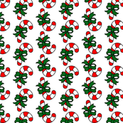 Candy Canes and Green Bows in Red and White