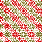 Damask Inspired Holiday Ornaments in Red and Green