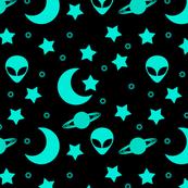 Bright Aqua Blue Alien Heads in Outer Space