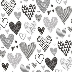 Hearts Geometrical Love Valentine Black&White Grey