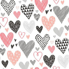Hearts Geometrical Love Valentine Black&White Peach