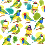 Watercolor finches