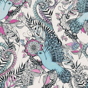 Flight of Fancy – pink, teal, cream - small