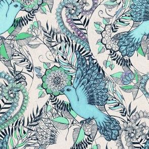 Flight of Fancy - blue, grey, green - small