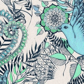 Flight of Fancy - blue, grey, green - large