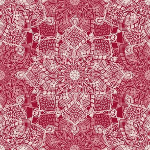 Cream Medallion Doodle on Dark Red