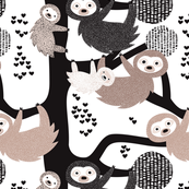 Pura vida sloth animal cute costa rica tropical rainforest animals in beige black and white