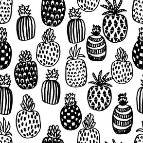 pineapple // black and white tropical summer trendy fruit design