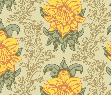 Sunflower Damask