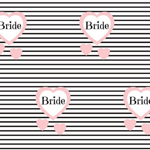 Pink Heart Black Stripes Bride