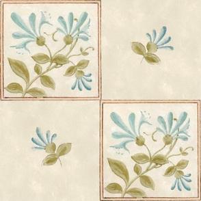 Floral Tile in Blues