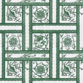 Art Deco Floral Weave in Greens