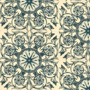 Floral Art Deci in Blue and Tan