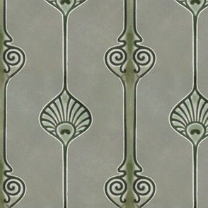 Art Deco Vertical Design in Greens