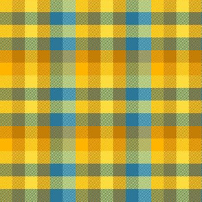 Madras plaid - gold and blue