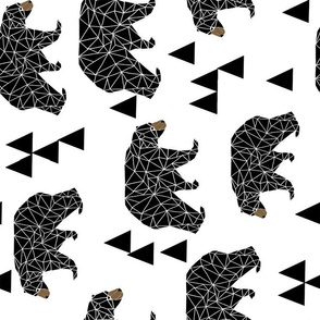 bear // geo bear geometric bear extra large black and white bear for kids nursery