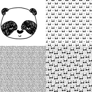 Panda Sampler // FQ cut and sew four designs per yard pandas black and white
