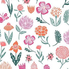 spring garden botanicals // block print linocut flowers florals spring ladybug pink green sweet flowers