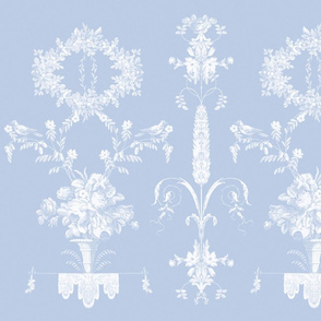 Rococo Garden in sun fade on blueberry
