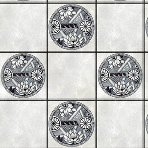 Japanese Blue and White Floral Tile