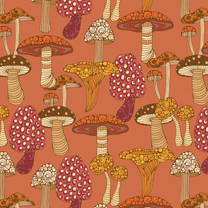 Mushrooms brown background
