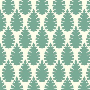 leaf damask off white mint
