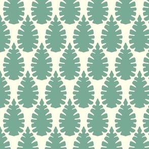 leaf damask off white mint