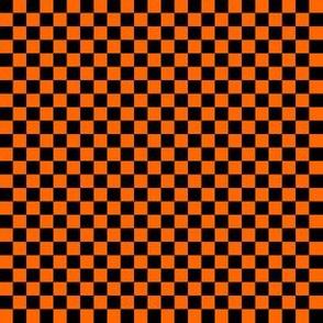 Black and Orange Quarter Checkered