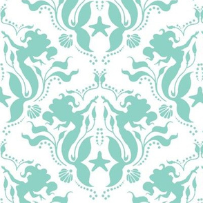 Mermaid Damask Neptune_White