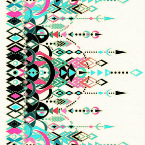 Modern Deco turquoise and pink border print