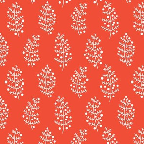 Leaf and berry basic winter and spring leaves repeat in coral red