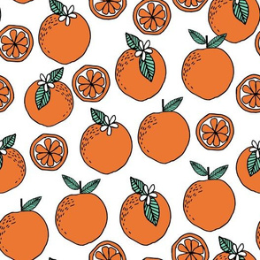 oranges // summer florida tropical citrus fruit seamless hand-drawn illustration