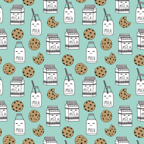 Milk and cookies mint food kids cute novelty prints for Kids novelty fabric