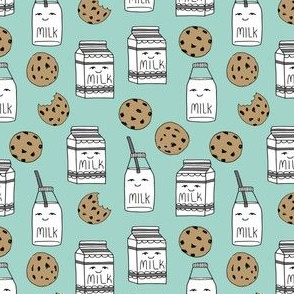 milk and cookies // mint food kids cute novelty prints