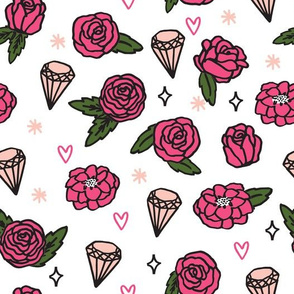 flowers // pink valentines jewels gem heart sparkle rose pink valentines love illustration