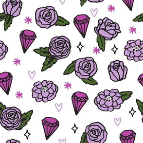 flowers // roses valentines purple pastel girly gem hearts cute girly design