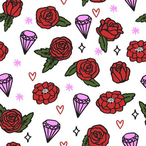 flowers // roses gems heart valentines girly pink purple red girly design