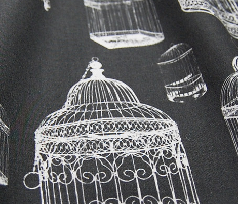 Antique Bird Cage - White on Black