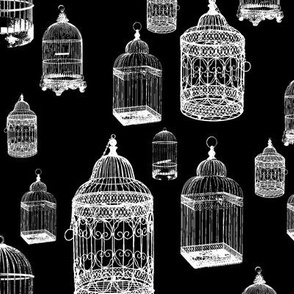 Antique Bird Cages on Black - Large