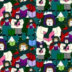 Christmas Carolers & Trees Fabric #1