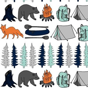 camping // navy mint grey kids boys outdoors adventure