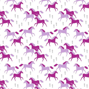 wild horses // purple lavender grey girly pastel sweet girls illustration pattern print
