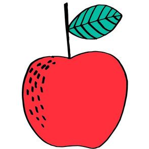 apple // cut and sew plush pillow apple illustration