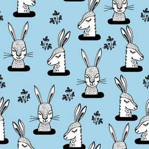 rabbit // sweet bunny rabbit rabbits soft pastel blue girls spring animal print