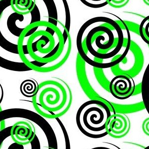 Lime Green Geometric Swirly Twirly Spiral Design